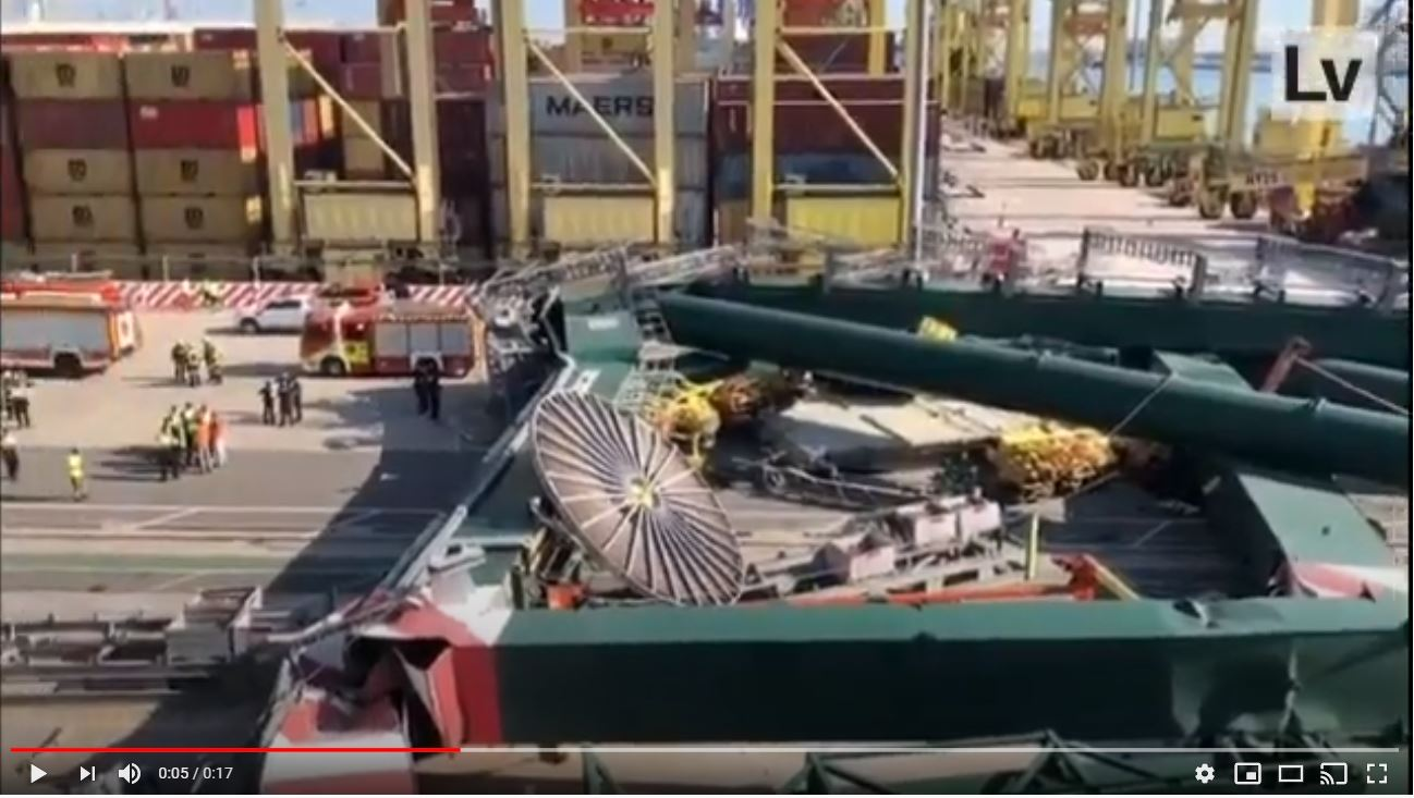 Video of the destroyed gantry crane (YouTube - TheMaritimeBulletin)