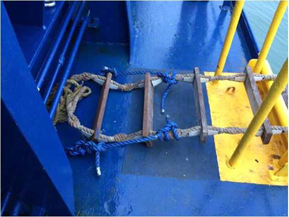 Rope diameter less than 20, synthetic, estimated strength ~4500kg 44.1kN per side