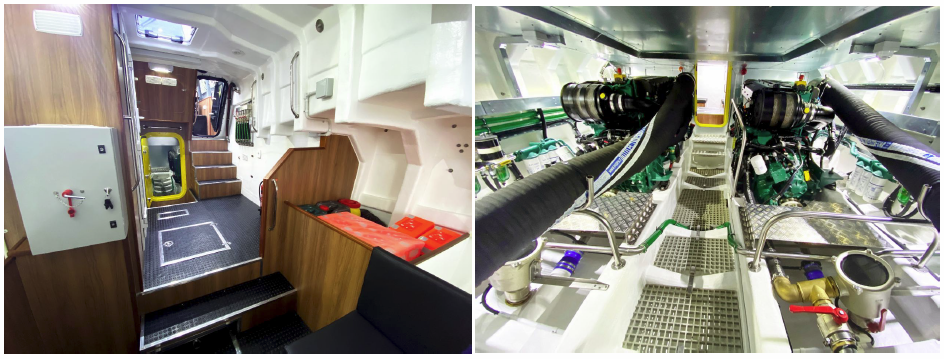 Above left, spacious forward cabin, right engine room and below her central helm position with all round visibility.